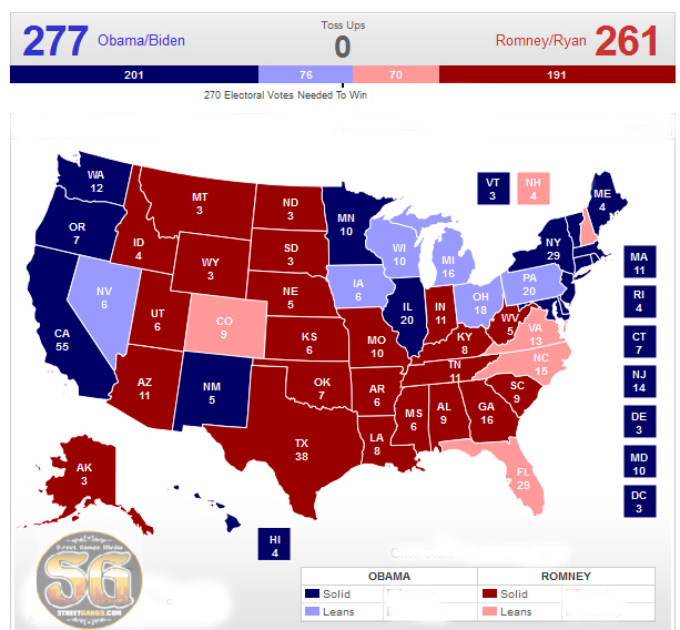 Obama Romney Electoral prediction map