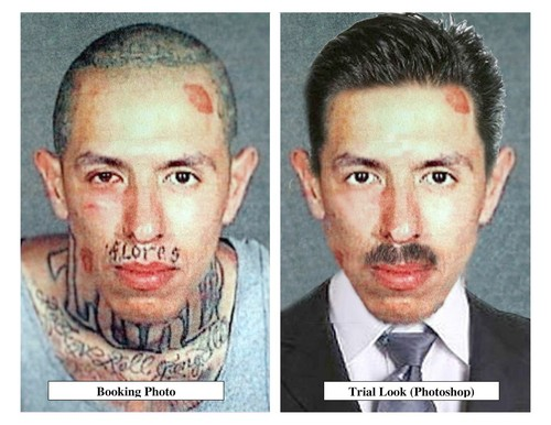 Richard Rodriguez, who was kicked in the head by an El Monte police officer, will cover his tattoos and grow hair to look like the Photoshop image at right.