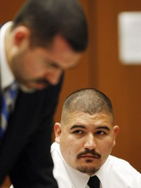 Attorney Victor Acevedo, left, Guillermo Alarcon Jr., right