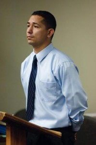 Ex-LBPD rookie Orlando Mendez appears at the North Justice Center in Fullerton, when his arraignment on assault with a gun and other charges stemming from an alleged attack on his ex-girlfriend and two others was postponed. (Scott Smeltzer / Staff Photographer)