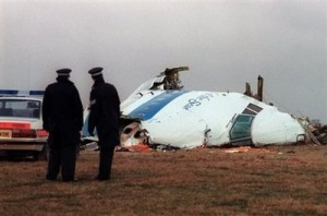 Policemen look at the wreckage of the 747 Pan Am airliner that exploded and crashed over Lockerbie in 1988. The terminally-ill Libyan convicted for the 1988 Lockerbie bombing headed home from Scotland Thursday after being freed on compassionate grounds despite US anger over the gesture.