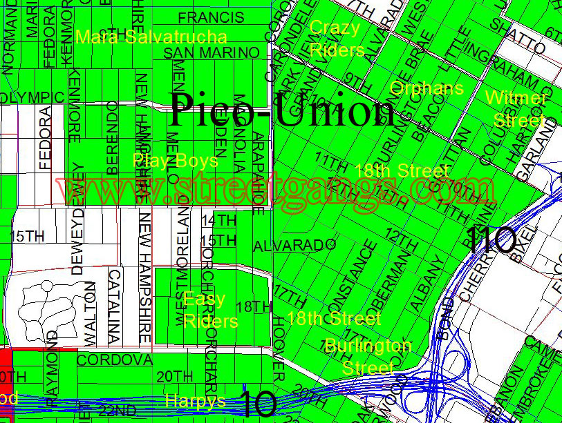 Gang Map Of The Pico Union Area Of Central Los Angeles