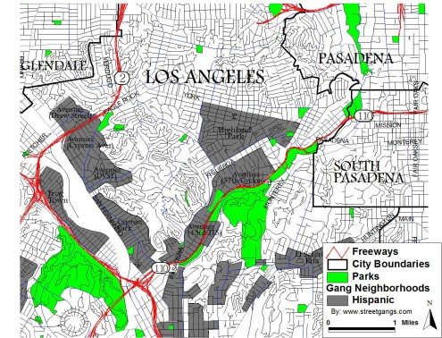 Map Of Gang Territories In Los Angeles  Indiana Map