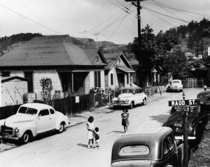 Looking west on Schieffelin Street from Naud in old Dog Town community, 1952.