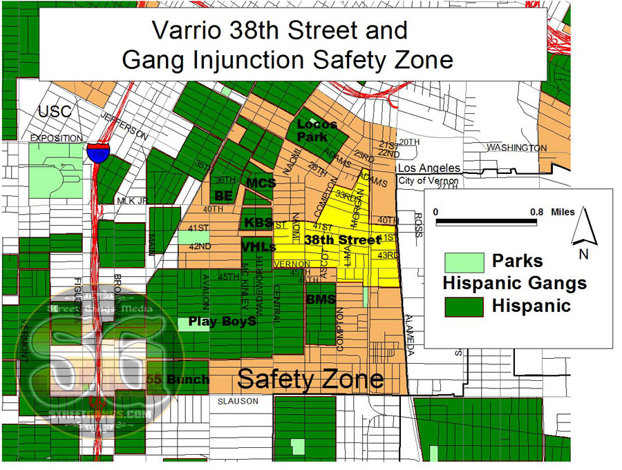 Varrio 38th Street In South Los Angeles Streetgangs: California Gang Territory Map At Slyspyder.com