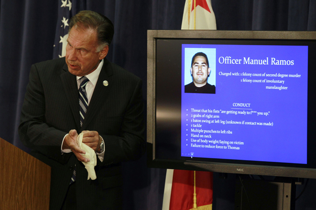 Orange County Dist. Atty. Tony Rackauckas announced murder charges, September 21, 2011 against officer Ramos