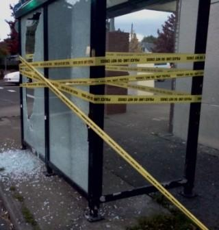 bulletridden bus stop