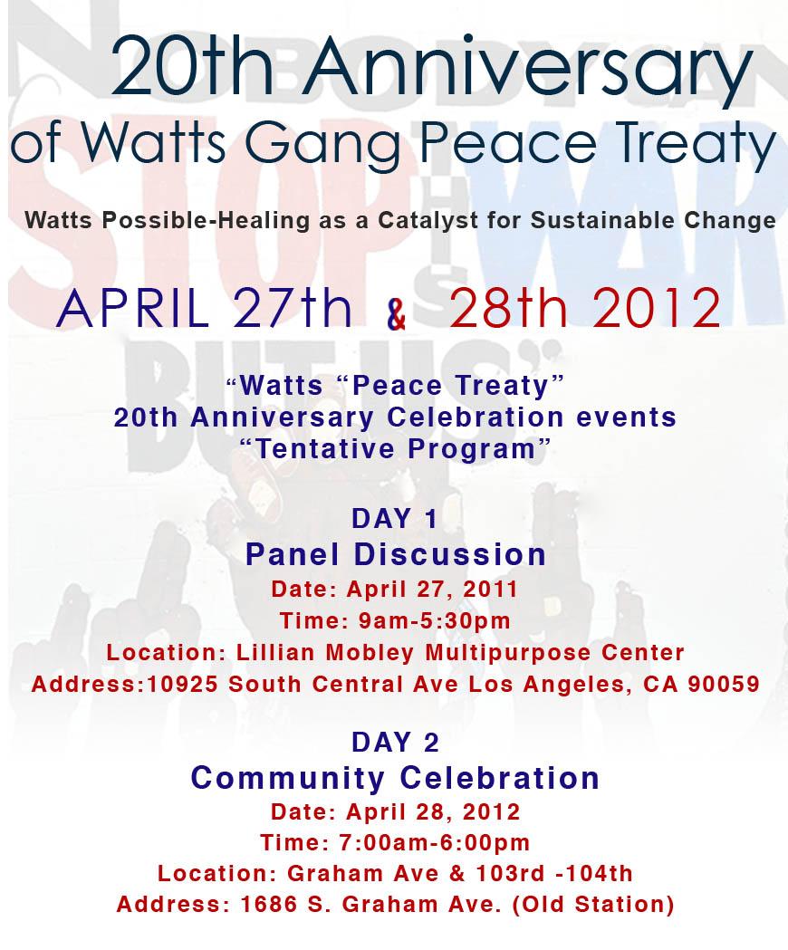 20th Anniversary of Watts Gang Peace Treaty | StreetGangs Com