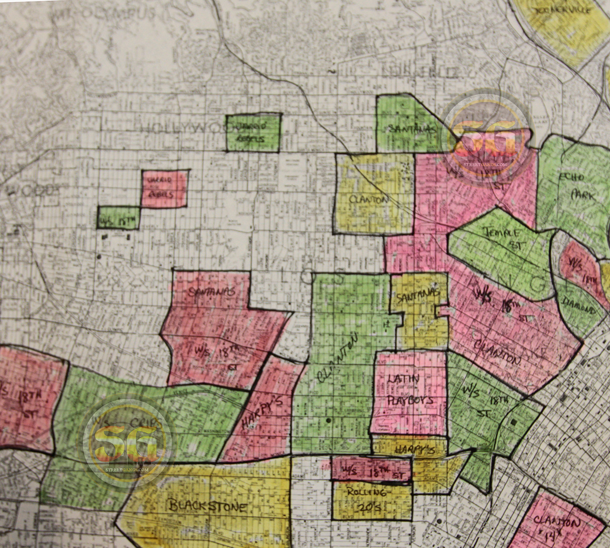 Hollywood And Central Los Angeles Gang Map Of 1978 Streetgangs Com