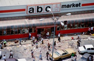 ABC Market on Vermont & Vernon Avenues in 1992 during LA Riots