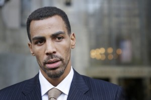 Thabo Sefolosha talks to reporters outside criminal court in New York, Friday, Oct. 9, 2015. The Atlanta Hawks' player was acquitted Friday in a case stemming from a police fracas outside a trendy New York City nightclub. (AP Photo/Seth Wenig)