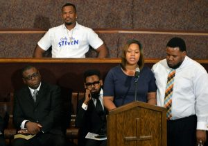 Tracy Winzer-Penn speaks at the funeral for Carnell Snell Jr., the African-American man whose shooting death by LAPD officers sparked protests. The funeral was held at First AME Church of Los Angeles one week after his death. Snell died after an officer-related shooting on Saturday October 1, in South L.A.  Los Angeles October 8, 2016. Photo by Brittany Murray, Press Telegram/SCNG