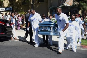 The funeral for Carnell Snell Jr., the African-American man whose shooting death by LAPD officers sparked protests was held at First AME Church of Los Angeles one week after his death. Snell died after an officer-related shooting on Saturday October 1, in South L.A.  Los Angeles October 8, 2016. Photo by Brittany Murray, Press Telegram/SCNG