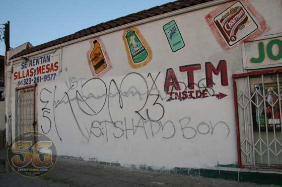 Krazy Ass Mexicans gang graffiti on Grand Joy Mart at 3029 Wabash Ave Los Angeles CA, in Boyle Heights, September 13, 2009