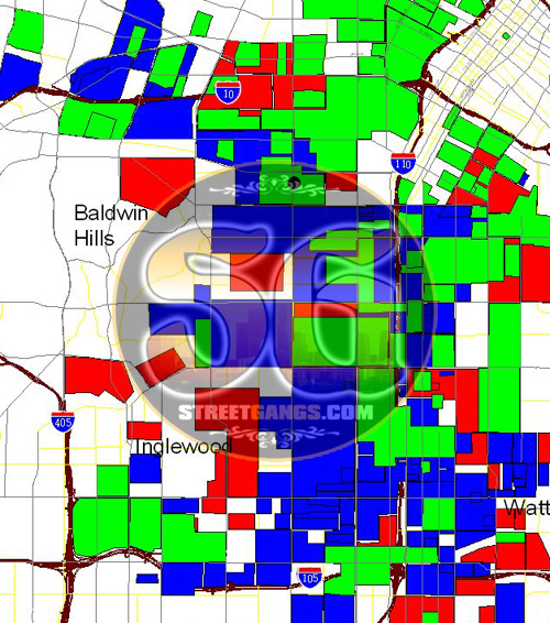 South Los Angeles Gang Territory Map