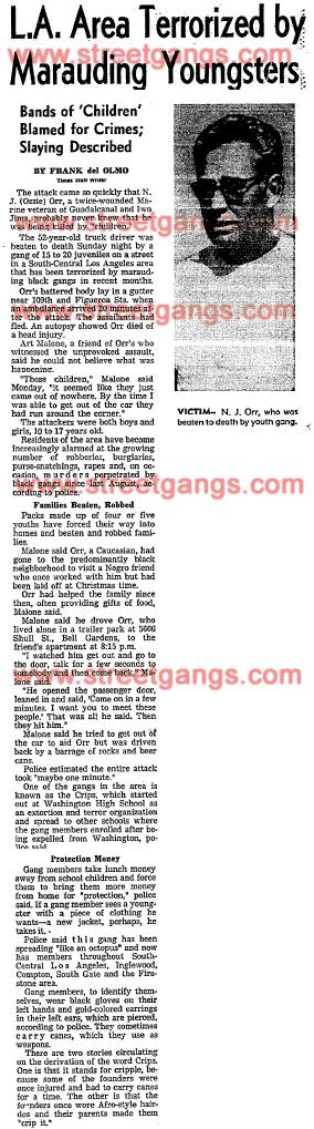 N J Ozzie Orr killed in Los Angeles