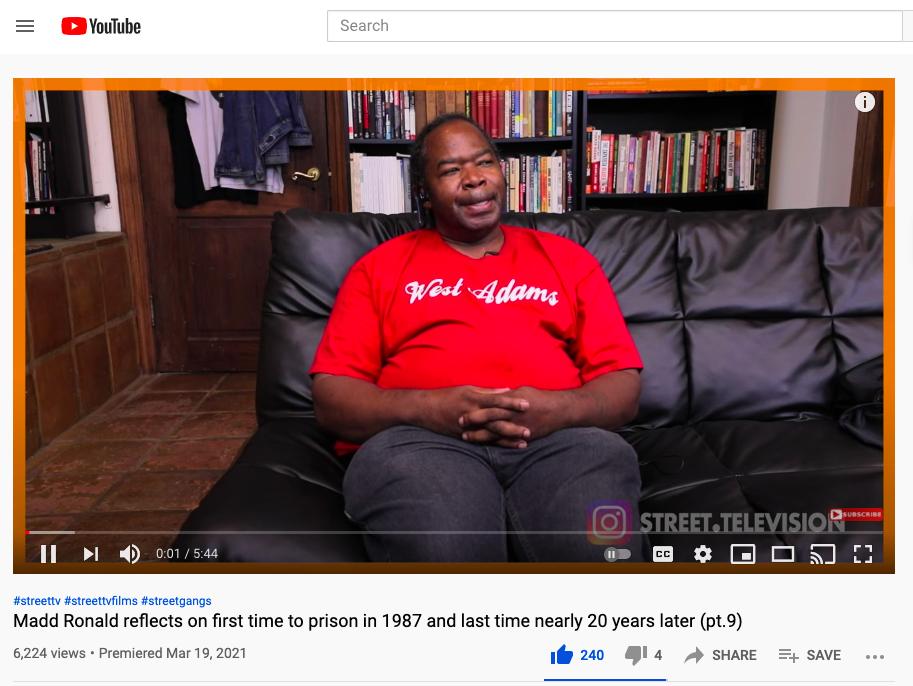 Madd Ronald on prison life